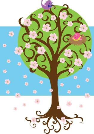 Apricot-tree and birds Illustration