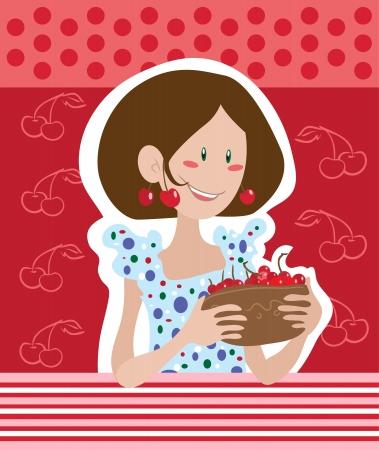 Girl with cherries Stock Vector - 15938112