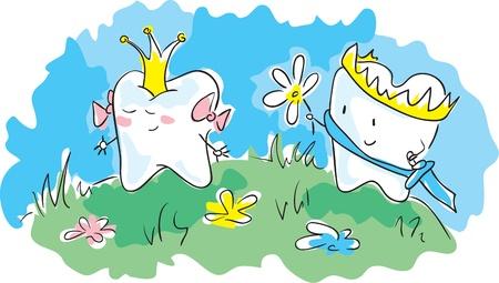 ox eye daisy:  Crowned teeth