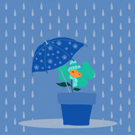 Rain and flower Stock Vector - 16004395