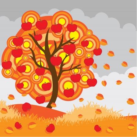 Autumn apple tree Stock Vector - 16004458