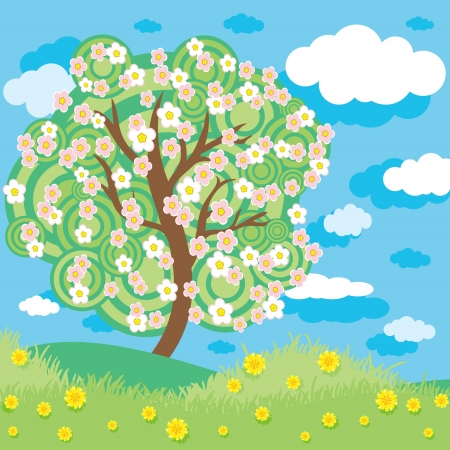 Spring apple tree Illustration