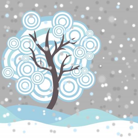 Winter apple tree  Stock Vector - 16004430