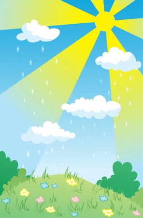 Landscape with rain through sunshine  Illustration