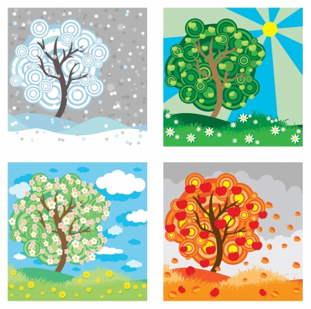 Apple tree seasons  Vector