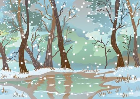 paysage dessin anim�: Paysage blanc Illustration