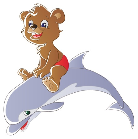 oso caricatura: Oso y el delf�n