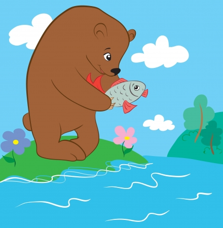 Bear and fish Stock Vector - 16004437
