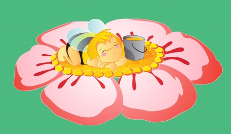 Asleep little bee Stock Vector - 16004377
