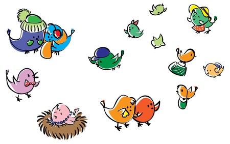 aves caricatura: Juego de las aves Vectores