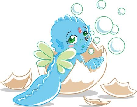 dinosaur egg: Blue dragon  Illustration