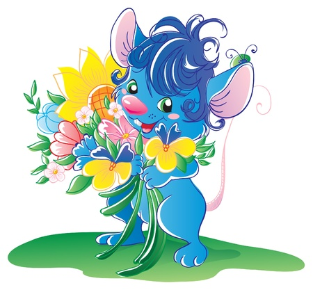 Blue mouse with flowers  Stock Vector - 16004435
