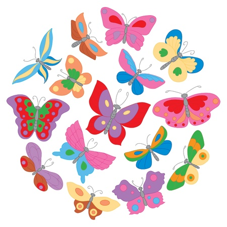 Set of fifteen butterflies