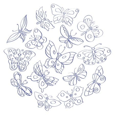 Set of fifteen contour butterflies Illustration