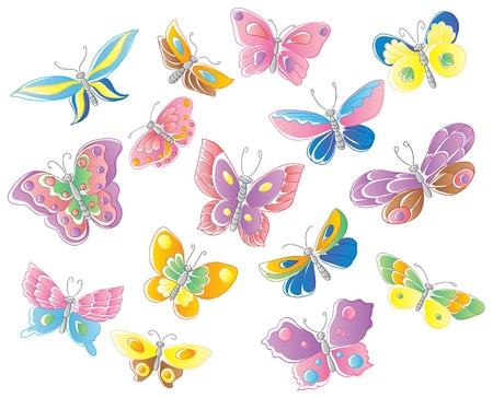 pink and brown: Set of fifteen butterflies