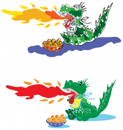 spewing: Dragon spewing flames. Spicy foods Illustration