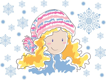 pompon: Blonde in a hat with pompom and snowflakes