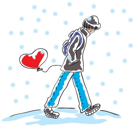 goes: The guy goes in the snow and has a heart-shaped balloon