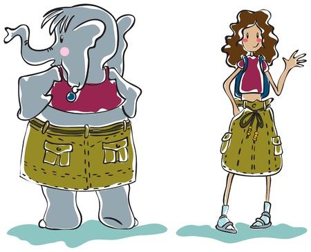 One model skirt fits skinny girl and elephant Vector