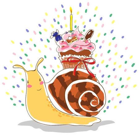 Anthropomorphic snail carrying on his back cupcake with a candle. Cupcake tied ribbon. In cream cupcake is a piece of cake, candy, ice cream on a stick and colored pills. Vector