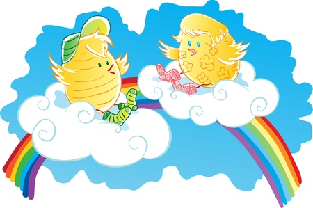 Two chicken sitting on the clouds. One chick in a flower, the other striped. On the feet of chickens wearing socks. In the blue sky is a rainbow. Vector