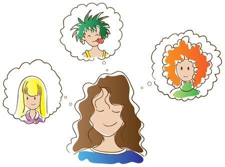 punk hair: Girl dreaming of a new hairstyle and a new hair color. Brown-haired girl with wavy hair. Options hairstyles: curly redhead, blonde straight hair and punk with green hair.