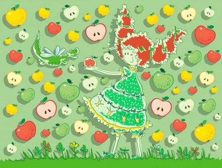 Girl holding out apple to dragon. The girl has thick hair tied with ribbons. Little dragon with wings like a dragonfly. Apples on background. Vector