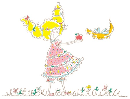 Girl holding out apple to dragon. The girl has thick hair tied with ribbons. Little dragon with wings like a dragonfly. Illustration