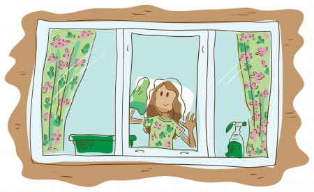 brown haired girl: Girl washing the window. Brown-haired girl. The girl in the hand of rag. On the window hung colorful curtains. On the windowsill are a basin and washing-up windows.
