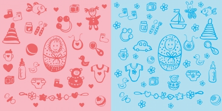 Set of baby design elements