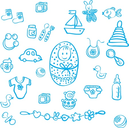 Set of baby design elements Vector