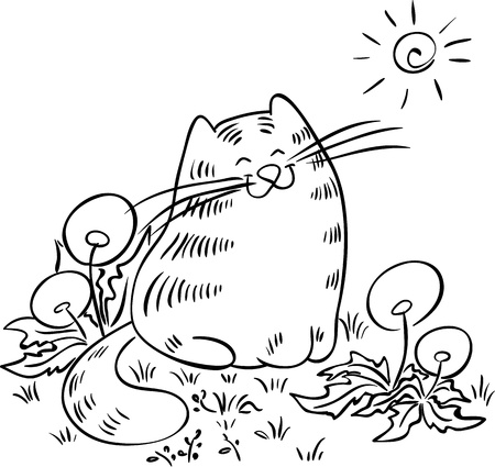 squinting: Cat sitting in the meadow with dandelions  Cat is squinting against the sun  Contour drawing