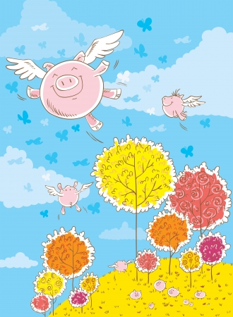 clearing: Three pigs are flying in the sky  One pig flies up  Many pigs are in a clearing in the woods and stare at the flying pigs