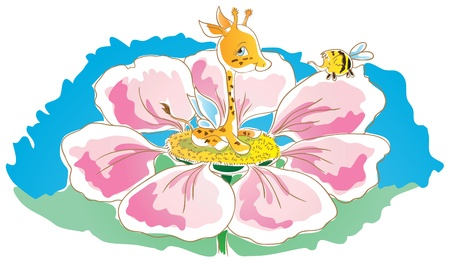 Little giraffe sitting in a flower  A giraffe on the back wings  Small elephant bee flies over flower  Stock Vector - 18826986