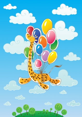 By giraffe stomach tied balloons  Giraffe flies  On background sky, clouds, trees and grass  Vector