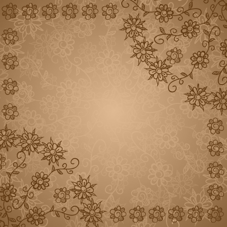 Vintage ethnic beige doodle  flowers ornate background Illustration