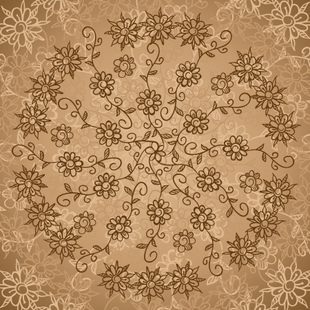 Vintage ethnic beige doodle  flowers circle ornate background Illustration
