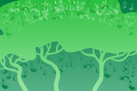 Abstract green background. The dark trees against a bright background. On a trees grows fruits.