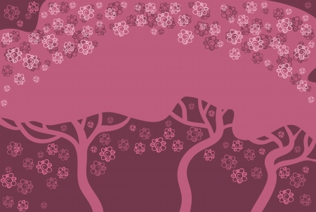 Abstract red and pink background. The dark trees against a bright background. Flowers flying around the trees