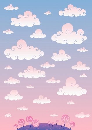 Background. The sky with clouds. At the bottom of some grass and small trees. Illustration