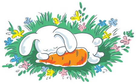 White bunny sleeping in the grass and embracing carrot. Stock Vector - 18826978