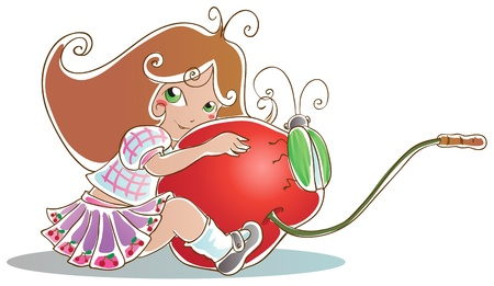 Girl hugging a large cherry. Green beetle sits on a cherry. Isolated on white. Stock Vector - 18826969