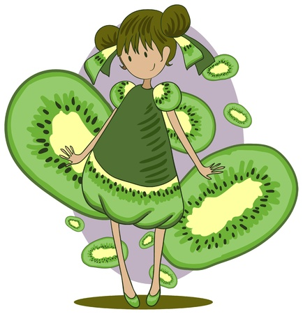 A girl dressed in a dress similar to the cut kiwi. Background of purple ovals and kiwi slices. Illustration