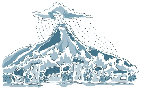 downpour: Above the town the rain. Above the clouds towering mountain. Mountain is dress Lady Rain. Her hair are shaped clouds are streaming rain. Illustration