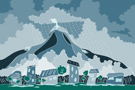 murky: Above the town the rain. Above the clouds towering mountain. Mountain is dress Lady Rain. Her hair are shaped clouds are streaming rain. Illustration