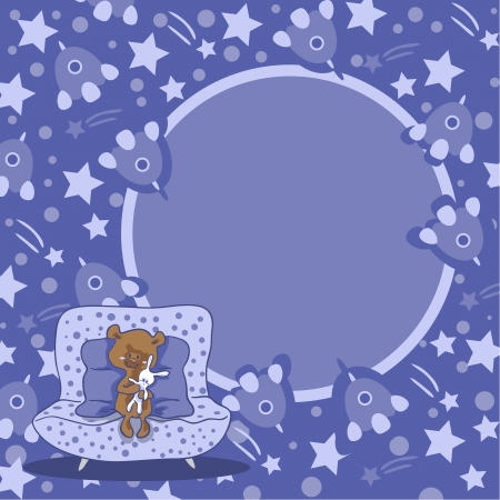 Purple space background with little bear with free place for your text Vector