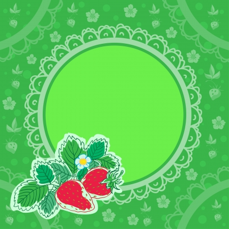 Green square background with strawbery