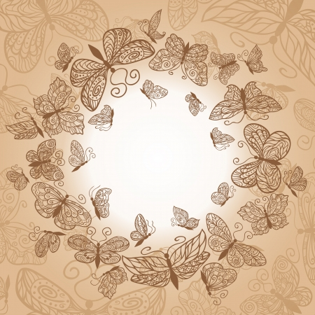 Beige circle background with brown butterflies. Illustration