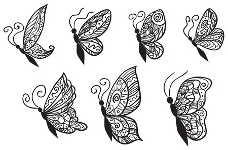 Seven ornate butterflies for your design isolated on white background.