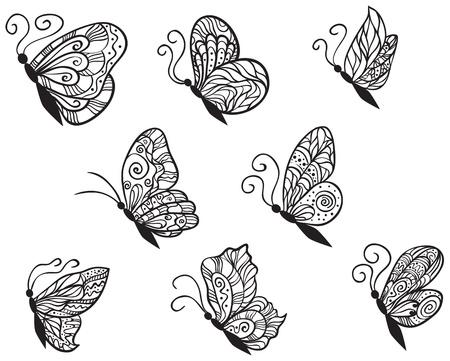 butterfly tattoo: Otto farfalle ornato per la progettazione isolato su sfondo bianco. Vettoriali